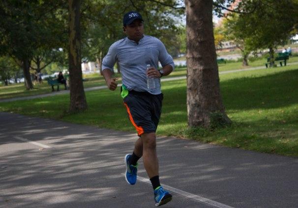Runner runs along the Charles River Esplanade in Boston, Mass., Tuesday, September 26, 2017.